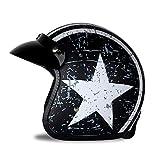 Woljay 3/4 Offener Sturzhelm, Helmet Motorrad-Helm Jet-Helm Scooter-Helm Vespa-Helm Halbhelme Motorrad Helm Flat mit Rebellen Star Graphic Schwarz Weiß (M)