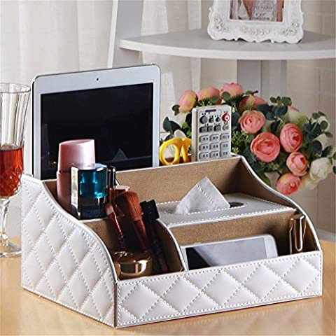 Outside The House Household Multifunctional Tissue Box Remote Control Storage Box Leather, I, 27.5 * 20.5 * 13Cm