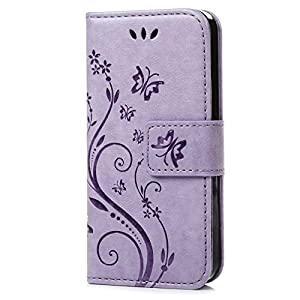 C-Super Mall-UK Samsung Galaxy S5 Mini Case, PU embossed butterfly & flower Leather Wallet Stand Flip Case for Samsung Galaxy S5 Mini(Light purple)