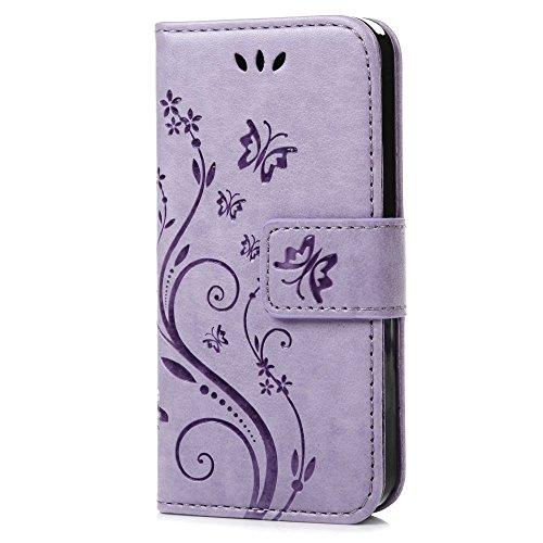 C-Super Mall-UK Samsung Galaxy S3 Mini GT-i8190-Fall:PU geprägtes Schmetterling & Blume Leder-Mappen-Standplatz -Schlag-Fall für Samsung Galaxy S3 Mini GT-i8190(Helles Lila)