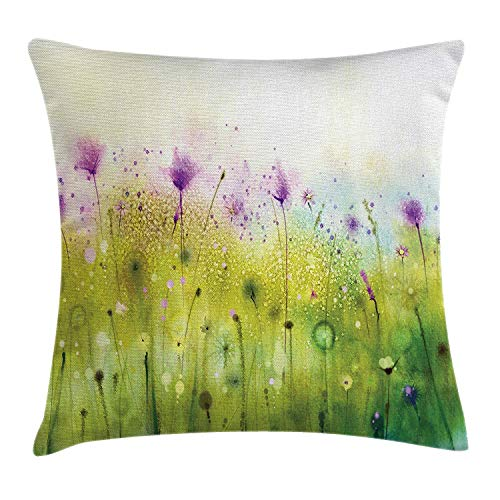 Trsdshorts Watercolor Throw Pillow Cushion Cover, Abstract Blurred View of Purple Cosmos Flowers Blooming Meadow, Decorative Square Accent Pillow Case, 18 X 18 inches, Purple Apple Green White Butterfly Meadow Bunny
