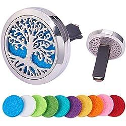 BENECREAT Albero della Vita Deodorante per Auto Aromaterapia Diffusore di Oli Essenziali in Acciaio Inossidabile Medaglione con Clip di Ventilazione 10 Feltrini Lavabili