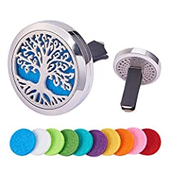 Idea Regalo - BENECREAT Albero della Vita Deodorante per Auto Aromaterapia Diffusore di Oli Essenziali in Acciaio Inossidabile Medaglione con Clip di Ventilazione 10 Feltrini Lavabili