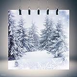 KING DO WAY Fotostudio Hintergrundstoff Schnee, Weihnachtsfotohintergrund aus Stoff und Vinyl, Baum, weiße Schneekulisse, Nutzung als Kulisse, Requisite, Studiorequisite, 3 m x 3 m Test
