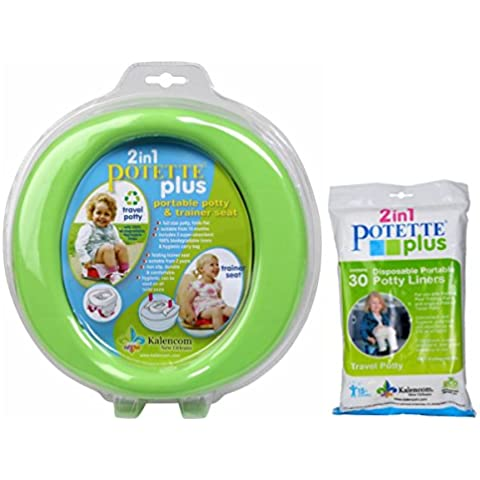 Green Potette Plus Port-a-potty Training Potty Travel Toilet Seat - 2 in 1 Bundle with Potette Plus Liners - 30 Liners by