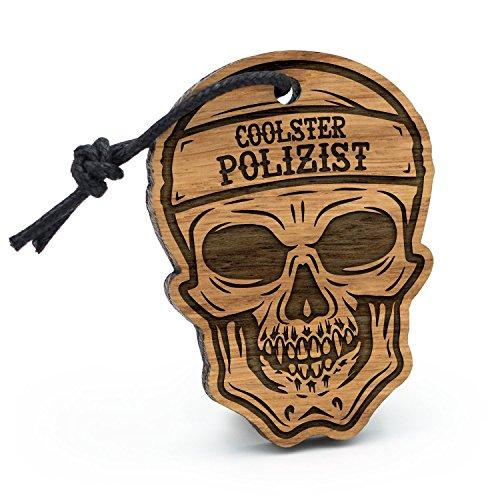 Fashionalarm Schlüsselanhänger Totenkopf Coolster Polizist aus Holz mit Gravur | Geschenk Idee Polizei Beamter Beruf Job Arbeit (Für Geschenk-ideen Polizisten)