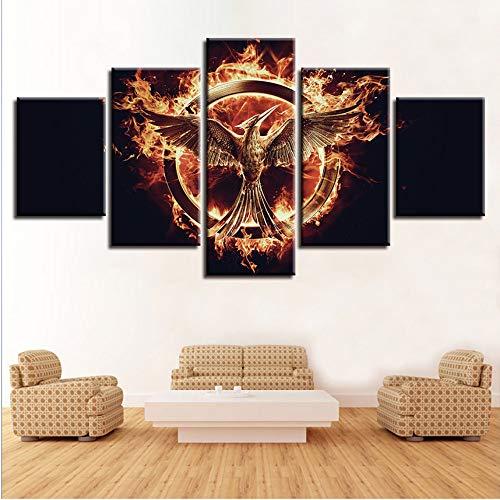 Ssiyun Leinwand Bild Wandkunst Poster Familie Dekoration Moderne 5 Panel Hunger Games Für Wohnzimmer Leinwand Hd Drucken Modularen Bilder Malerei Rahmen-40CMx60/80/100CM (Hunger Games Dekorationen)