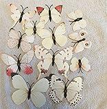 Kongboo 3D-Wandsticker, Schmetterlingsmotiv, PVC, magnetisch, 12 Stück, PVC, weiß, 50 x 70 cm