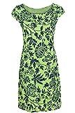 GS-Fashion Leinenkleid Damen Sommer mit Blumen Kleid ärmellos Knielang Lindgrün 40 (Herstellergröße XL)