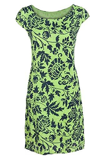 GS-Fashion Leinenkleid Damen Sommer mit Blumen Kleid ärmellos Knielang Lindgrün 38 (Herstellergröße L) Fashion Kleid