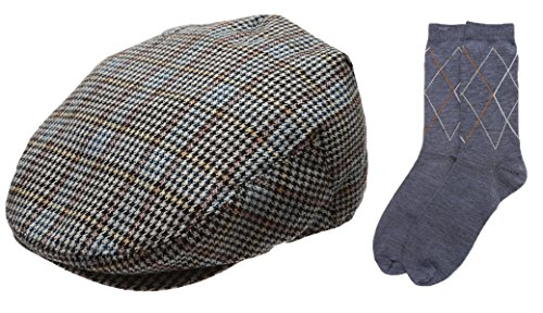 Herren Collection Wollmischung Fischgrätenmuster Tweed Newsboy Ivy Hut mit Kleid Socken. - Gelb - X-Large Tweed-hut