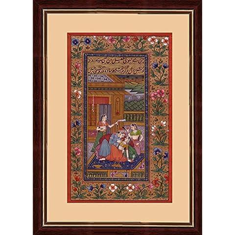 período de Mughal escena de amor 'rey mogol real y reina sentada en la terraza con los asistentes' pintura miniatura india en el papel hecho a mano de edad con la elaboración de