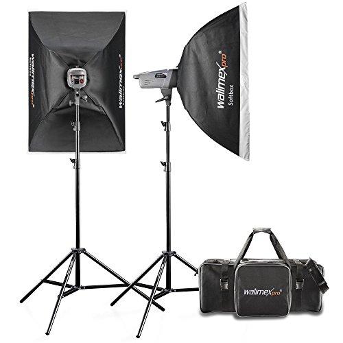 Walimex Pro VE Excellence 4.4 Studioset (inkl. 2x Studioblitzen 400 W mit integriertem Empfänger, 2x Lampenstative, Refektor und Auslöser)