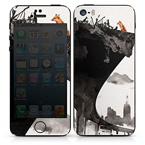 Apple iPhone SE Case Skin Sticker aus Vinyl-Folie Aufkleber Skyline Stadt Kunst DesignSkins® glänzend