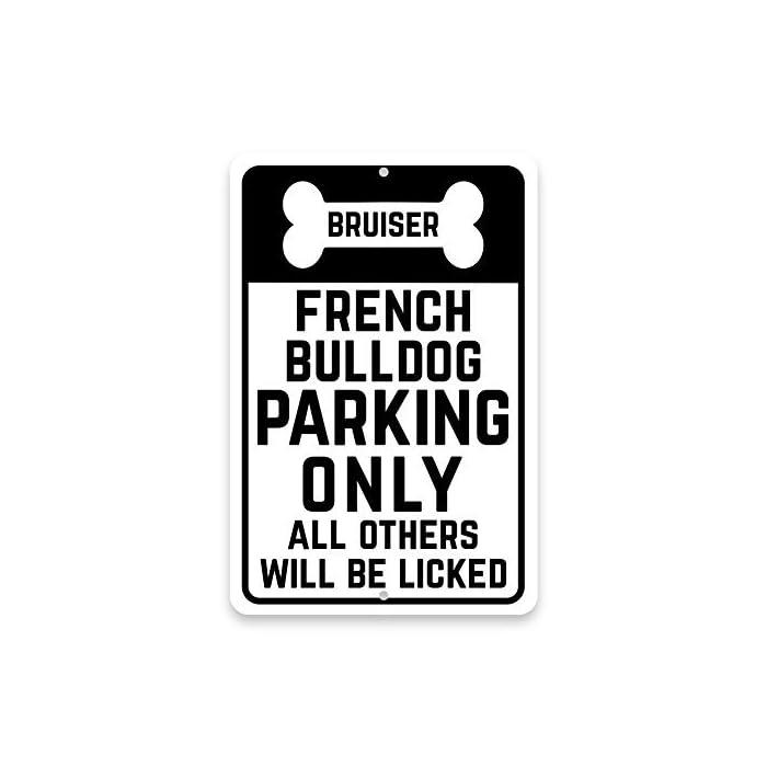 Metall Türschild Personalisierte Personalisierte Französische Bulldogge Parking Only mit Namen in Knochen Aluminium Wand…