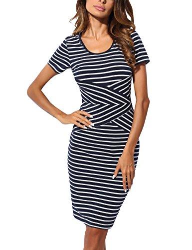DJT Damen Elegant Gestreiftes Kleid Jerseykleid Figurbetontes Streifenkleid Etuikleid Knielang Blau-Weiss-Kurzarm M