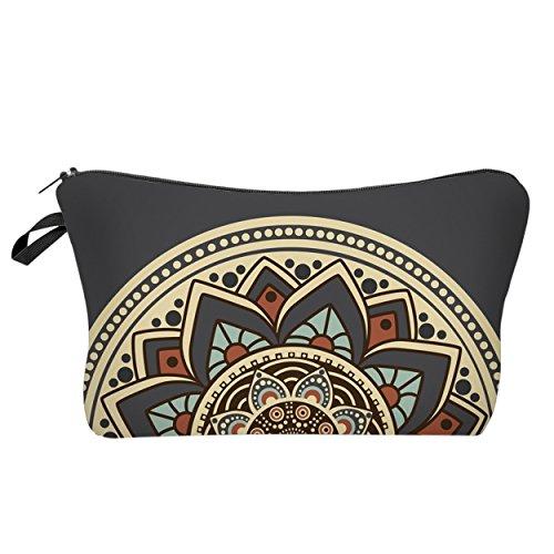 Modische Kulturtasche | Kosmetiktasche | Schminktasche (Make-Up Bag) | Kulturbeutel mit schönen Print-Motiven für Reisen, Urlaub und Alltag (Sunrise Mandala) -