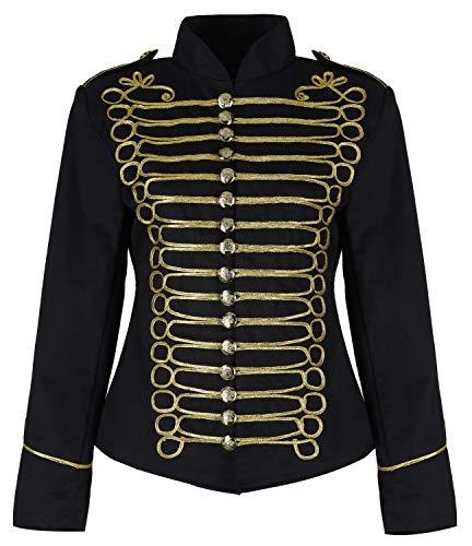 k Goth Napoleon Militair Drummer Paradejacke - Schwarzes Gold (XL - 40) ()
