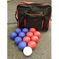 Stevens - Juego de pelotas para boccia, 6 de color rojo, 6 de color azul y 1 bola diana, cosidas a mano, con bolsa de transporte
