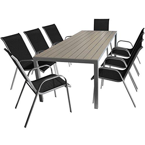 Wohaga 9er Set Gartenmöbel, Aluminium Gartentisch mit Polywood-Tischplatte, 205x90cm + 8X Stapelstühle mit Textilenbespannung, Stahlgestell pulverbeschichtet, Silbergrau/Schwarz