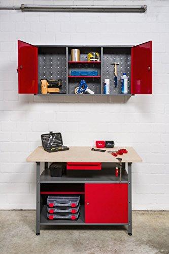 Große Werkstatteinrichtung bestehend aus 2 Werkbänken, 2 Metallschränken und 2 Euro-Lochwänden – individuell kombinierbar - 3
