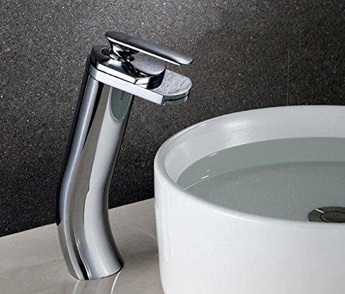 Preisvergleich Produktbild Cqq LED Wasserhahn Voller Kupferwaschbecken Wasserfall Wasserhahn Einloch Warm- und Kaltwasser Wasserhahn Waschbecken Wasserhahn