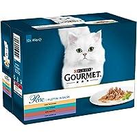 Purina Gourmet Perle Umido Gatto Filettini in Salsa con Tacchino, Tonno, Anatra, Agnello, 12 Buste da 85 g Ciascuna, Confezione da 12 x 85 g