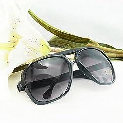 Denshine Nouveau Mode unisexe style classique Couleurs Lunettes de soleil Miroir Shades Lunettes de soleil Noir