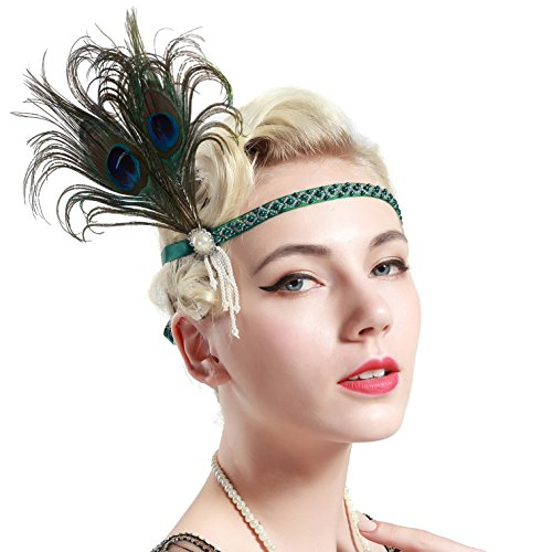 band Feder Flapper Stirnband mit Perlen Troddel 20er Jahre Haarband Große Gatsby Kostüm Accessoires Damen Retro Stirnband (1920 Frauen Kostüm)
