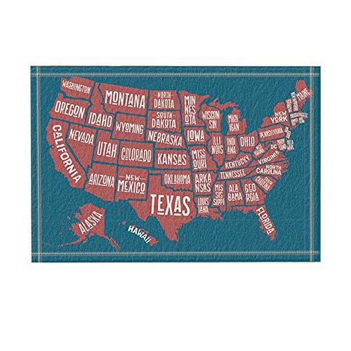 GzHQ Vereinigte Staaten Karte Decor Poster Karte Amerika mit Staat Namen Bad Teppiche rutschfeste Fußmatte Boden Eingänge Indoor Haustür Matte Kinder Badematte 15,7x23,6 Zoll Bad-Accessoires