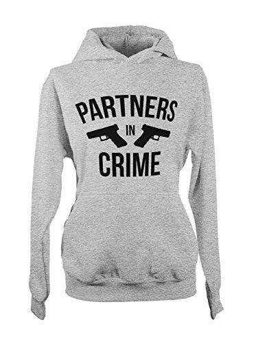 Partners In Crime Amusant Cool Sarcastic Femme Capuche Sweatshirt Gris