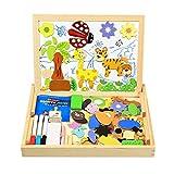 Magnetisches Holzpuzzle, InnooBaby 100 Stück Doppelseitige Holzpuzzle, Magnetisches Holzspielzeug, Puzzle aus Holz, Pädagogische Lernspiel, Tolles Geschenk für Baby Kleinkinder ab 3 Jahre -