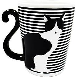 Blanco y Negro Gato Cat Taza frontera por Artha ar0604106de Japón