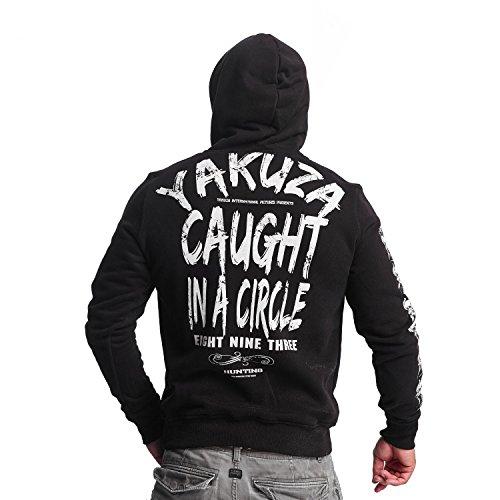 Yakuza Original Herren Caught In A Circle Hoodie Kapuzenpullover Schwarz