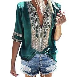 Minetom Camiseta Básica Mujer Vintage Bohemio Blusa Manga Corta Cuello en V Estampado Blusas de Fiesta Oficina Playa Vacaciones Verano Boho T-Shirt Tops A Verde ES 42