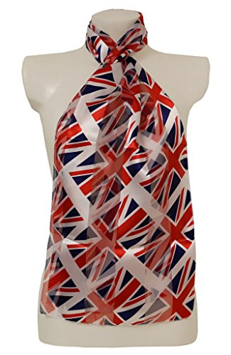 Ladies Scarves Union Jack British Flag (Stripes) - Red - White - Blue