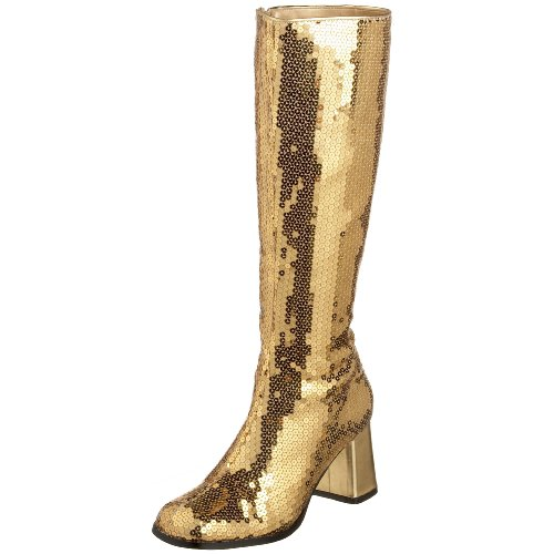 Kostüm Authentische Burlesque - Pleaser Damen Spectacul-300sq, Gold Sequins, 42 EU