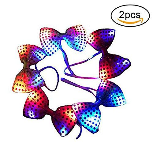 2 leuchten LED-Sequin-Bogen-Krawatten Neuheit-blinkende Partei-Verein-Glühen-Krawatten - gelegentliche Farbe (Leuchten Neuheit Spielzeug)