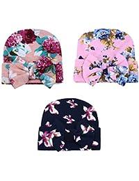 YiZYiF Lot de 3 Bébé Bonnets Nouveau né Coton Crochet Papillons Chapeau Unisexe Bébé Garçon Fille Naissance Tricot Hat Cap 0-6 Mois