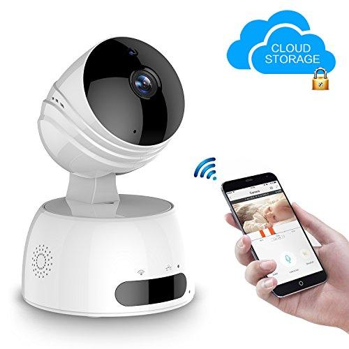 LESHP Wlan IP Kamera 1080P HD Überwachungskamera 350°/100° Schwenkbar mit Bewegungssensor| Nachtsicht | 2 Wege Audio | Deutsche App WiFi/LAN Kamera für Smartphone/PC