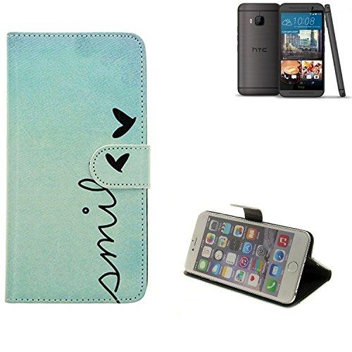 K-S-Trade Für HTC One M9 (Prime Camera Edition) Hülle Wallet Case Schutzhülle Flip Cover Tasche bookstyle Etui Handyhülle ''Smile'' türkis Standfunktion Kameraschutz (1Stk)