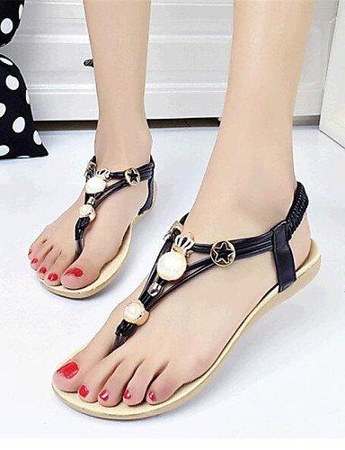 UWSZZ IL Sandali eleganti comfort Scarpe Donna-Sandali-Tempo libero / Casual-Comoda-Piatto-Finta pelle-Nero / Bianco Black