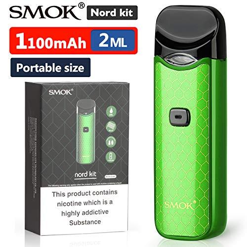 Offiziell SMOK Nord Kit 1100mAh E Zigarette Starter Set, 2ml Pod System Tragbar Verdampfer mit eingebautem Akku, 0,6-Ohm-Spule für Sub-Ohm, 1,4-Ohm-Wickelkopf für MTL-Dampf Ohne Nikotin - - Grün