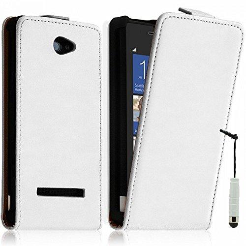 r Handy Schutzhülle mit einer vertikalen Klappe für HTC Windows Phone 8X + Mini Eingabestift + GRATIS Displayschutzfolie - WEISS ()