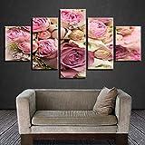 Jgophu Bilder Moderne Hd Drucken 5 Stücke Schöne Rosa Weiße Rose Blume Stillleben Modulare Leinwand Malerei Decor Wohnzimmer Wandkunst 40X60X2 40X80X2 40X100 cm