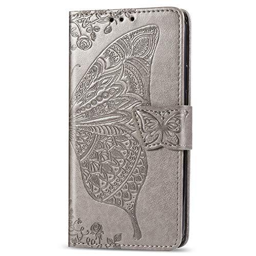 Fatcatparadise Kompatibel mit LG K40S Hülle + Panzerglas Schutzfolie, Schmetterling Prägung PU Leder Handyhülle Wallet Case Flip Hülle Brieftasche Ledertasche (Grau)