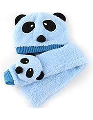 WMA Bleu bébé Motif Animal mignon Panda hiver Écharpe Bonnet pour enfant