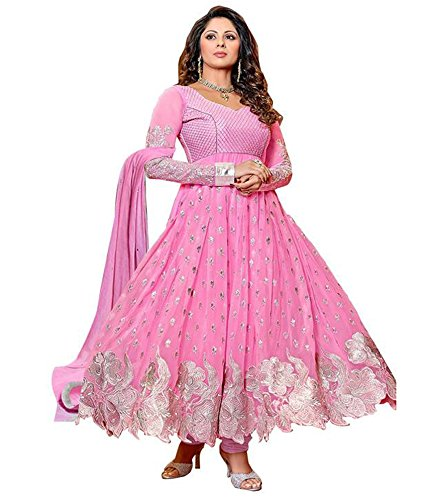 Shelina exclusive embroidered pink anarkali suit