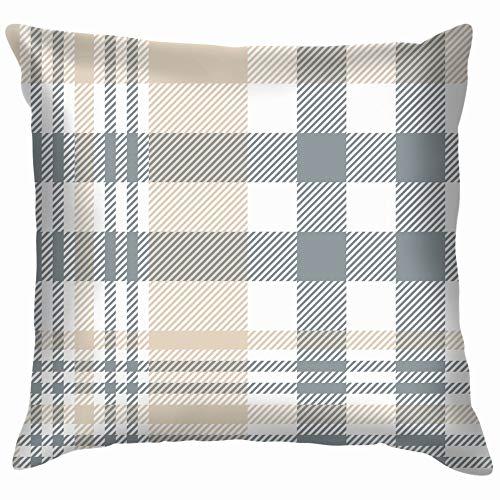 Tan Plaid Shirt (Nicegift Plaid Check Tan Beige Grey Cotton Linen Home Decorative Throw Pillow Case Cushion Cover for Sofa Couch 18X18 Inch)