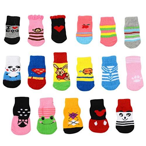 Dog Socks - 4pcs Pet S M L Warm Puppy Dog Shoes Soft Cotton Knits Socks Cute Cartoon Anti Slip Skid - Grip Scratching Arthritis Stop Itching Picture Terrier Skid Boots Custom Feet Green Booties -